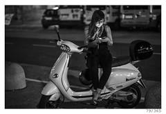 waiting (Alja Ani Tuna) Tags: 79 79365 365 waiting girl glass mobile vespa motor italy woman white black bw blackandwhite blackwhite beautiful nikond800 nikkor nikkor85mm naturallight nice 85mmf18 d800 f18 brunette monocrome monochrome