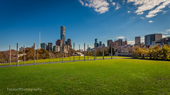 Birrarung Marr Park Hill, Melbourne (trevorjphotography) Tags: green bluesky clouds melbourne birrarungmarrparkhill scenic rialto eurekatower southbank city cbd skyscrapers skyline artscentrespire canoneos5dmarkii ef1740mmf4lusm landscape cityscape niceweather goodweather warm