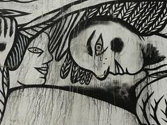 """Katjastroph - Dtail de la fresque """"Rosa park fait le mur"""", Paris XIXme (Impossible de trouver un pseudo, tous sont pris!) Tags: fresque paris paintings painting drawings drawing peintures peinture dessin dessins graffiti streetart street art katjastroph noir blanc monstre diable extrieur naif naive black white devil"""