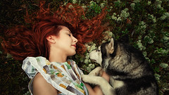 longing reunion (Maria Nenenko) Tags: marinino marininoart fineart art forest nature green red trees vivid color surgut russia story storytelling friends friendship animal dog husky wolf fairytale girl woman young beauty redhair pic picture longhair conceptphotos