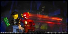 (Rear curtain) Flash saves the day (beninfreo) Tags: lego flash rearcurtain theflash burglar thief superhero night movement motion blur longexposure 100 canon 50mm18 5d3 rob robber red yellow cartoon comic