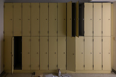 The lockers (rvanhegelsom) Tags: europe old urban abandoned indoor exploration hospital forgotten lost belgium urbex indoors sanatorium urbanexploration urbexworld urbxtreme closet cupboard furniture