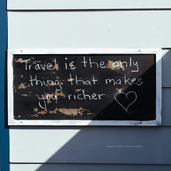 Travel is the only thing that makes you richer (Robert Lang Photography) Tags: australia eyrepeninsula photo photographer photography robertlang robertlangphotography robertlangphotographyportlincoln sa southaustralia commercialphotographer freelance freelancephotographer photos portlincoln portlincolnsouthaustralia travel sign signage travelmakesyouricher quote quotes wall chalk chalkboard