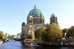 Berlin Cathedral. Germany. (Svitlana Clover) Tags: berlin germany europe vacation traveling autumn canoneos550d trees green blue sky journey tour outdoor tree plant church cathedral river motorship boat ship bridge building architecture island water yellow