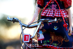 *Ride* On, Little Red... (rockymountainroz) Tags: bicycle sunrise febe wingsinflight vainilladollycustom