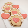 Cupcake Cookies with Heart Centers (sugarkissed.net (Janine)) Tags: birthday cookies cupcakes heart valentine pearls cupcake icing royalicing discodust