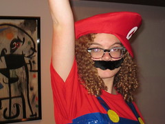 121 (Mcscorch) Tags: game halloween me girl hat hair duct diy costume fuzzy cosplay nintendo mario videogames gaming tape curly cap overalls mustache bros curlyhair