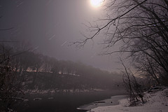 The Foggy Conestoga River under the Full Moon (Radical Retinoscopy) Tags: winter moon snow cold reflection tree water forest canon river stars star woods stream angle pennsylvania snowy wide sigma wideangle astro pa trail lancaster moonlight astronomy lancastercounty 1020mm lunar astrophoto conestoga startrail earthandsky astrophotogaphy earthandspace