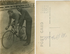 [Cyclist and man supporting bicycle] (SMU Central University Libraries) Tags: men cyclists bicycles africanamericans blackhistory africanamericanhistory