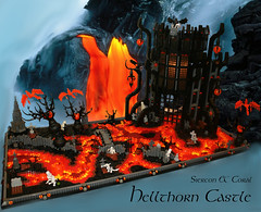 Hellthorn Castle (Siercon and Coral) Tags: castle halloween phoenix river skeleton volcano lava lego cathedral hell fantasy thorn lcc moc necromancy ironbuilder hellthorn