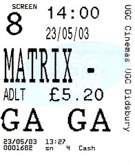 The Matrix Reloaded cinema ticket (stillunusual) Tags: 2003 cinema film movie manchester ugc thematrix thematrixreloaded parrswood wachowskibrothers
