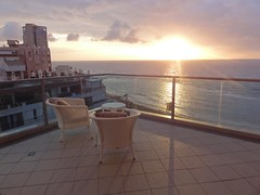 View from balcony, Maison Lisbona, Bat Yam (5) (dlisbona) Tags: sunset sea vacation holiday vacances soleil israel telaviv sonnenuntergang view apartment flat rental location appartement luxury seaview  coucherdusoleil batyam louer apartement sejour
