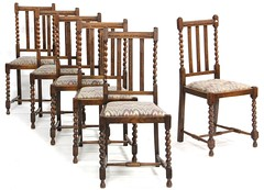 55. Set of 6 English Oak Barley Twist Dining Chairs