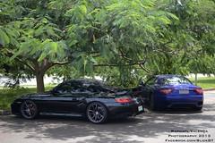 Maserati Granturismo & Porsche 911 Turbo (Raphael Valença) Tags: blue brazil black cars azul brasil 35mm nikon 911 preto turbo porsche gt brasilia maserati granturismo 996 18g 2013 d3100