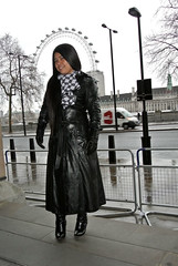Eye to Eye (johnerly03) Tags: black leather fashion hair asian long boots coat philippines trench hoody filipina erly