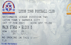 Matchday Ticket, Luton Town vs Swansea City (SONICA Photography) Tags: england tickets football foto photos photographs fotos tix footballmatch stubs fotograaf february2001 swanseacity lutontown admissiontickets eztd eztdphotography photograaf worldoftickets eztdphotos footietickets matchdaytickets oldfootballtickets oldmatchdaytix 17thfebruary2001