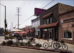 Pedestrian Plaza, Atwater (Bicycle Fixation) Tags: plaza bike losangeles outdoor parking pedestrian atwater