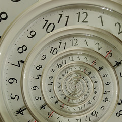 The Sands of Time (GrahamCSmith) Tags: white clock spiral hands droste mathmap