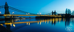 Hammersmith Bridge (Paki Nuttah) Tags: city bridge blue light reflection london thames architecture night river dark twilight long exposure low hammersmith hour