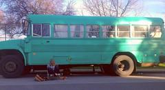 Genie (fredthestickman) Tags: bus vancouver faceless camper eastvan genie longboarding uploaded:by=flickrmobile flickriosapp:filter=nofilter