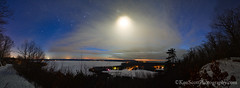 Cloud'ed ... over Big Glen Lake (Ken Scott) Tags: winter panorama usa moon stars march twilight view michigan lakemichigan greatlakes freshwater voted glenarbor leelanau sleepingbearbay glenlake fisherlake 2013 sleepingbearpoint sbdnl sleepingbeardunenationallakeshore millerhilloverlook mostbeautifulplaceinamerica