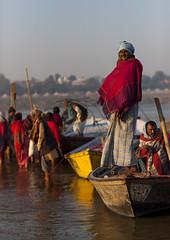 Pilgrims Bathing In Ganges, Maha Kumbh