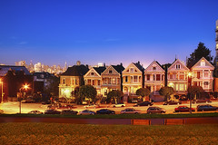 San Francisco Painted Ladies At Sunset (cstout21) Tags: sf sanfrancisco california ca old travel blue chris vacation usa clouds us colorful view unitedstates landmark bayarea westcoast hdr highdynamicrange transamericapyramid victorianhouses stout paintedladies alamosquare postcardrow sanfranciscoskyline ngoc canon60d stoutandstout northamera