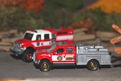 Brush units await assignment (cheliman) Tags: cars fire brush trucks matchbox diecast