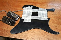 Adding the Gretsch pickup holes. Theyre usually surface mounted pickups but as it's a Strat I'll have to mount then under the 'guard - Jack's Instrument Services (Jack's Instrument Services) Tags: salford luthier the fre guitartech brokenheadstock headstockbreak lowaction guitarrepairs guitaraction talesfromtheworkbench guitarsetups guitarrepairermanchester pickuprewind pickupwinding guitarsetupmanchester