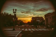 Dupont Sunset (MikeSpeaks) Tags: sunset sky washingtondc intersection crosswalk dupontcircle industar69