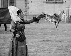 OWL and HANDLER at MEDIEVAL JOUST EVENT, BOLSOVER CASTLE, DERBYSHIRE_DSC_0958_LR_2.0 (Roger Perriss) Tags: bolsovercastle joust medieval d750 lady owl birdofprey blackandwhite
