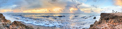 (evelyng23) Tags: pano panorama landscape raw stitch houseofrefuge gilbertsbar hutchinsonisland stuart florida sunrise pentax pentaxk3 aficionados hdr pentaxda15mmf4 rocks coquina beach ocean waves storm hermine 2016 evelyng23 usa limited
