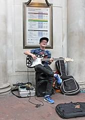 Portraits from the streets of London (Finding Chris) Tags: portraits strangers guitar musician busking busker embankment london londonunderground streetportraits startingyoung amplifyer