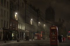 Royal mile after dark (Explore) (Sharkshock) Tags: royalmile edinburgh britian great nikon nikkor uk street phonebooth mist foggy misty fog buildings empty stgiles church cathedral europe
