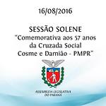 Sess�o Solene Comemorativa - 57 anos da Cruzada Social Cosme e Dami�o 16/08/2016