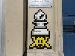 Space Invader PA_1230 (tofz4u) Tags: 75009 paris streetart artderue invader spaceinvader spaceinvaders mosaque mosaic tile pa1230 fou chec jaune yellow bishop chess