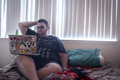 (MBPruitt) Tags: gpoy selfie myself laptop camera wilhelm duct tape getting ready bed them calves though