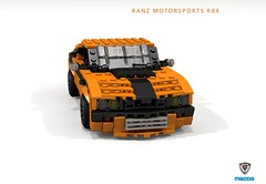 RANZ MOTORSPORTS MAZDA RX4 | PROJECT CLOCKWORK ORANGE (lego911) Tags: mazda rx4 luce 1974 1970s ranz motorsports clockwork orange project classic auto car moc model miniland lego lego911 ldd render cad povray widebody rotary custom lugnuts challenge 107 saturday morning show n shine japanese japan saturdaymorningshownnshine coupe