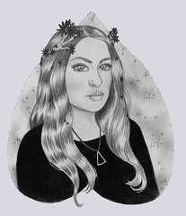 Voodoo (crimsonology) Tags: portrait pencil graphite drawing planchette hippie hippy flower crown jewlery
