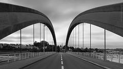 PONT CANADA (Michal Gds) Tags: architecture noirblanc blackwhite pont bridge france bretagne french brittany pontcanada btonarm estuairedujaudy perspective profondeurdechamp symtrie symmetry route road trguier trdarzec arc extrieur monochrome nikond810