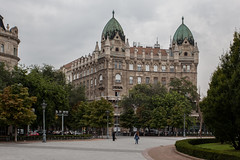 Szabadsg tr (Gary Kinsman) Tags: szabadsgtr libertysquare hungary magyarorszg pest canoneos5dmarkii canon5dmkii canon1740mmf4l budapest 5thdistrict liptvros innercity architecture gothicrevival neogothic overcast grey clouds dome 2014 topographics newtopographics urbanlandscape