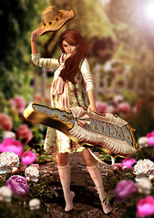 Garden of pastel (meriluu17) Tags: peony girl pastel pink rose garden yard outdoor people dof case cello cellocase hat summer sunflower cute sun sunlight scarf catwa zenith
