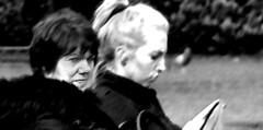 Portrait in the Park (Owen J Fitzpatrick) Tags: ojf people photography nikon fitzpatrick owen j joe street pavement chasing d3100 ireland editorial use only ojfitzpatrick eire dublin republic city candid tamron man portrait black white candidphotography candidphoto unposed natural blackwhite blackandwhite mono monochrome blancoynegro pretoebranco eye contact fleece brunette beauty beautiful