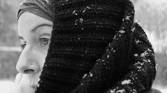 Gorgeous eyes of ice. (Danniel Diez) Tags: york blackandwhite selfportrait snow photography unitedkingdom yorkshire mep misteryeyes