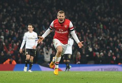 Jack Wilshere celebrates his goal v Swansea (Stuart MacFarlane) Tags: england london football unitedkingdom soccer budweiser facup gbr soccertournament clubsoccer roundthree thirdround competitionround