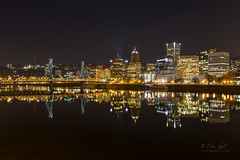 Portland Night Skyline (Eric.Vogt) Tags: city longexposure reflection night oregon portland lights downtown unitedstates hawthornebridge pdx darksky environmentaldescriptions