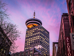 A picture a day keeps the doctor away (Eugene's Likeness) Tags: leica sunset architecture vancouver downtown bc olympus ft bluehour colourful gastown wander 43 omd alporto harbourcentre canda m43 mft fourthirds em5 panaleica 25mmf14 microfourthirds leicadgsummilux eugeneslikeness
