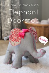 Elephant Doorstop (Create Studio) Tags: pink baby elephant grey pattern handmade sewing nursery gray stitching instructions tutorial doorstop