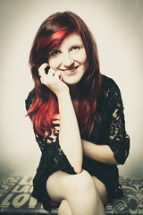 Fierce Red, with a Wonderful Smile (Lucy Hollingdale) Tags: red portrait woman girl beautiful smile smiling yellow youth canon vintage wonderful hair happy photography long pretty with fierce mark candid young style ii teenager 5d fade editing lovely