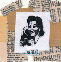 Defiant (GallivantingGirl) Tags: woman art girl mixedmedia vintageephemera